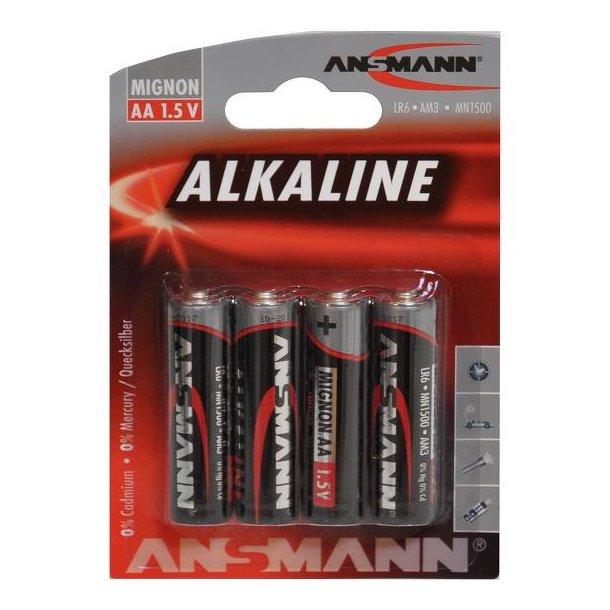 Alkine AA 1,5V batteri, 4 stk